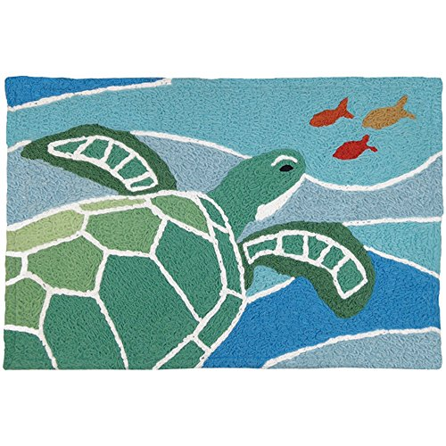 "Price comparison product image Jellybean Sea Turtle On Blue Waves Coastal Indoor/Outdoor Machine Washable 21"" x 33"" Accent Rug"