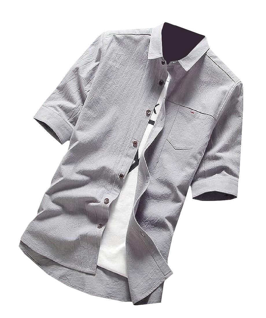 pipigo Men Basic Short Sleeve Button Down Cotton Slim Top Shirt
