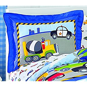 Dream Factory Trucks Tractors Cars Easy-Wash Super Soft Comforter Bedding, Twin, Red