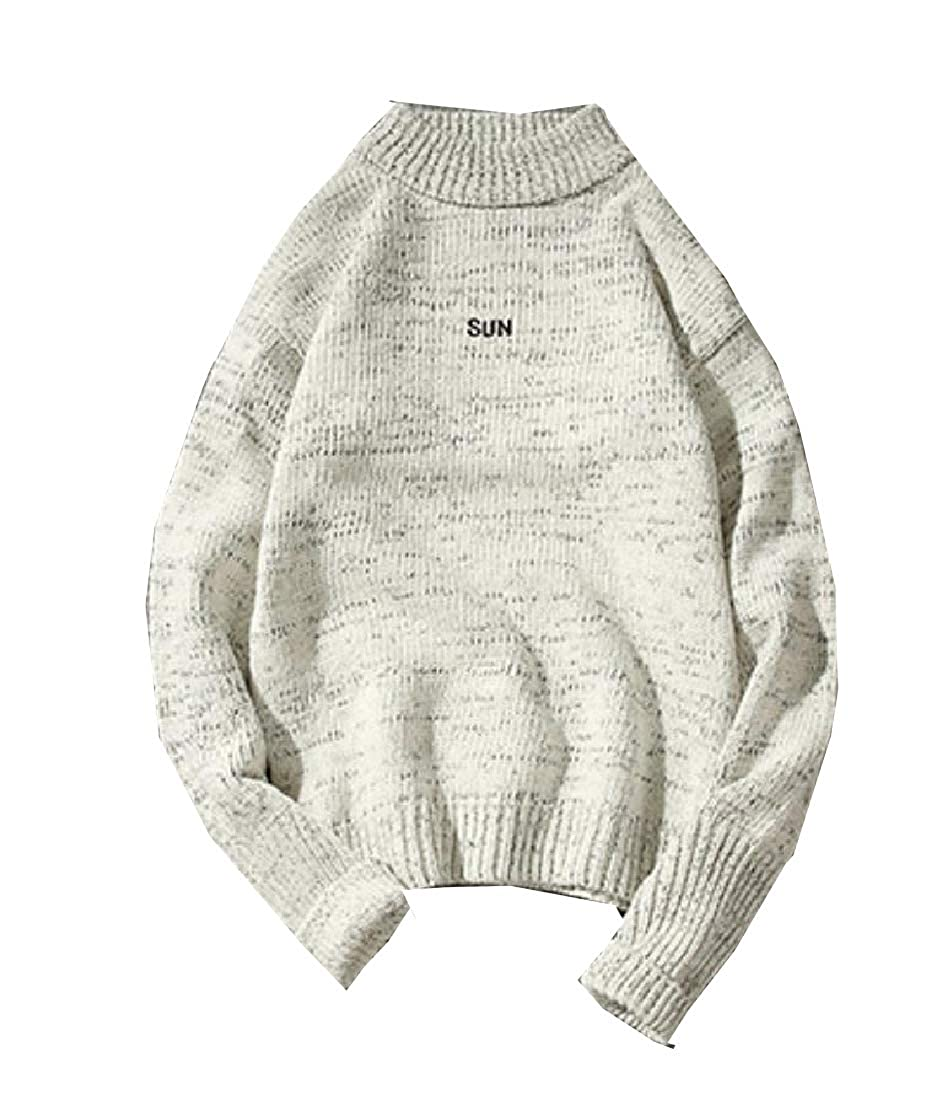 Winwinus Mens Embroidery Thickened Turtleneck Knit Warm Pullovers Sweater