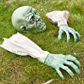 Prextex Halloween Zombie Face and Arms Lawn Stakes for Best Halloween Graveyard Décor Halloween Decorations
