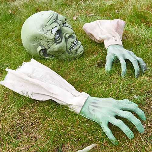 Prextex Halloween Zombie Face and Arms Lawn Stakes for Best Halloween Graveyard Décor Halloween Decorations -