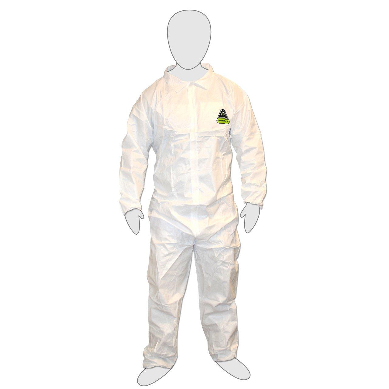 Cordova CPE3XL - DEFENDER White Coverall, Zipper Front -3X-Large (Case of 25)