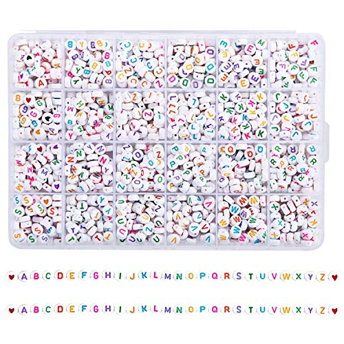Alphabet Beads 1620 Pcs A-Z Letter Beads, 7x4mm Sorted Acrylic Beads Kit for DIY Bracelets, Necklaces, Jewelry Key Chains and Crafts