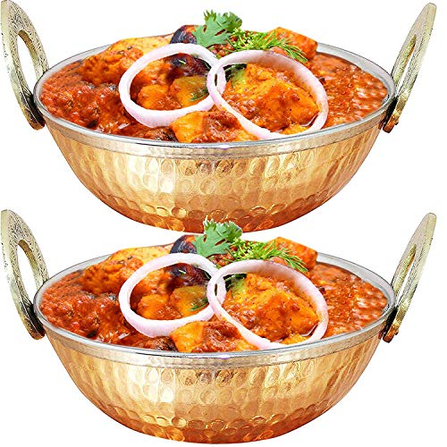 WhopperIndia Set of 2, Indian Copper Serveware Karahi Vegetable Dinner Bowl with Solid Brass Handle for Indian Food, Diameter- 15.24 Cm (6 Inches)