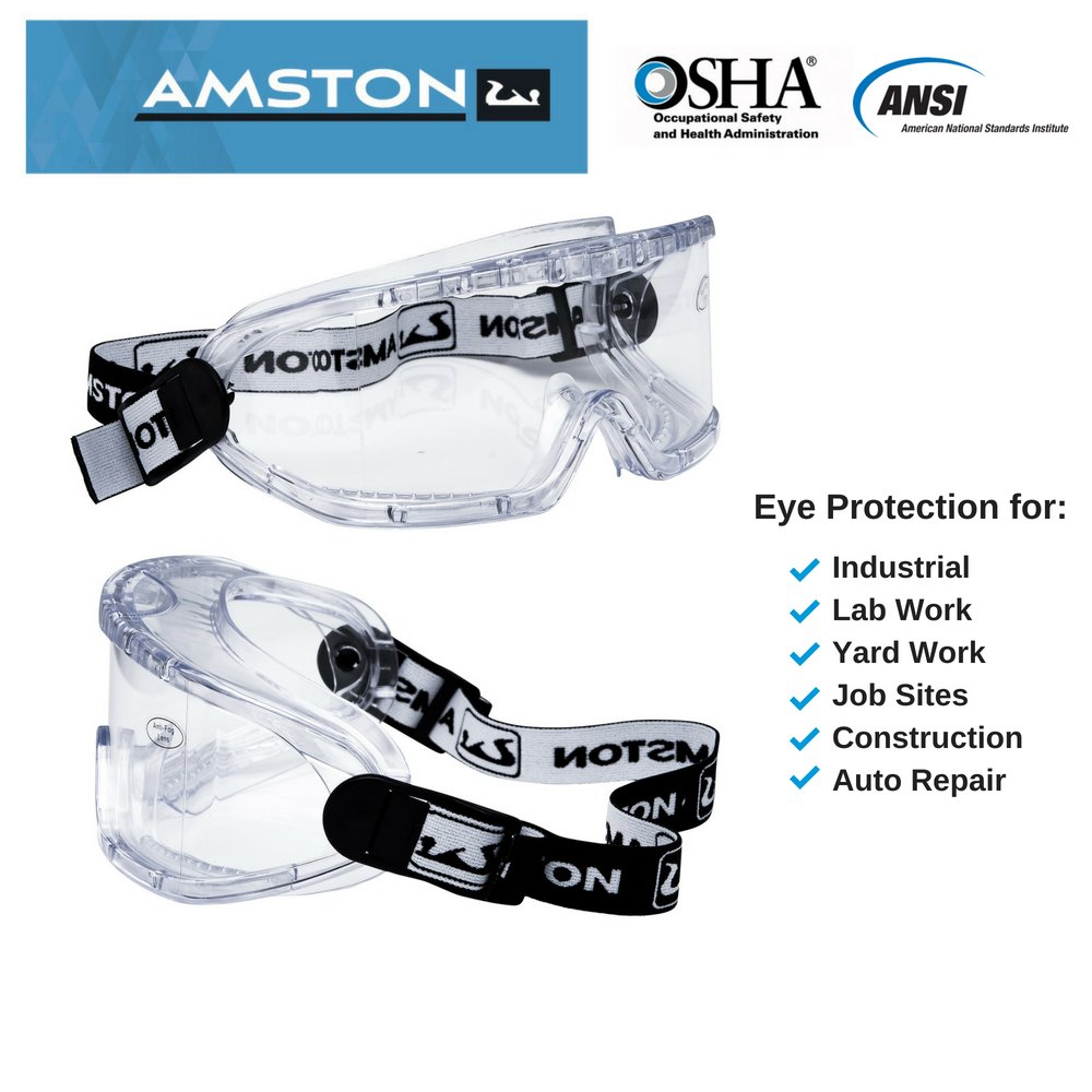 8f1195579d1 AMSTON Safety Goggles ANSI Z87.1 - OSHA Standards - Personal Protective  Equipment for Construction