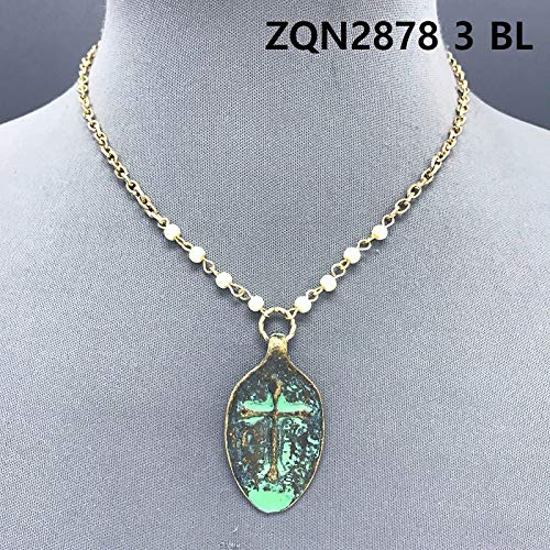 Gold Color Pearls Blessed Engraved Cross Embossed Patina Spoon Pendant Necklace - Pearl Cross Embossed