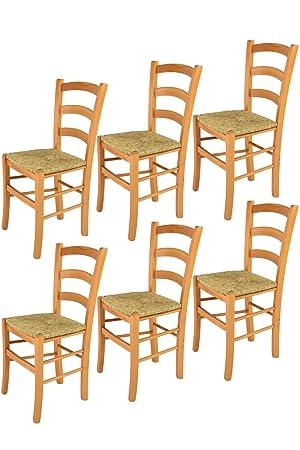 Tommychairs sillas de Design - Set 6 sillas Modelo Venice para Cocina, Comedor, Bar y Restaurante, con Estructura en Madera Color Miel y Asiento en ...