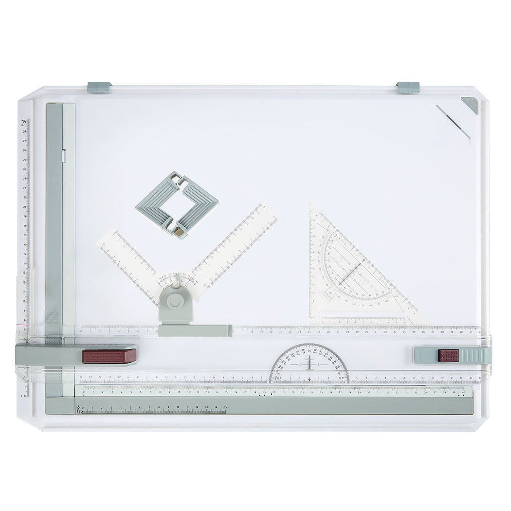 A3 Drawing Board Table Box Set Drafting Table with Parallel Motion and Set Square Graphic Design Art (A3, White) ZEARO