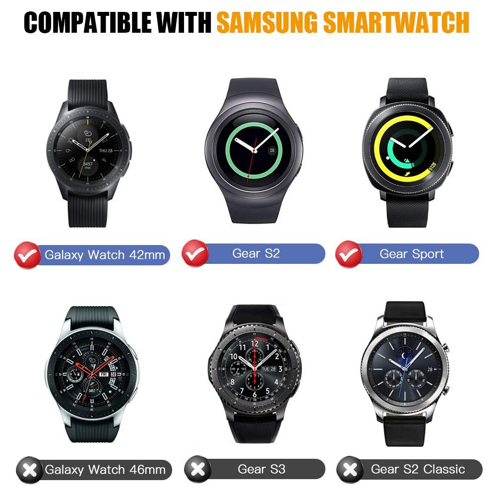 MoKo 2 PZS Anillo de Bisel Compatible con Samsung Gear S2/Galaxy Watch 42mm/Gear Sport, Smart Watch Bisel Cubierta Adhesiva de Acero Inoxidable ...