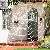2PCS White Creepy New Huge Spider Web Halloween Decoration Cobweb Party Bar Gift