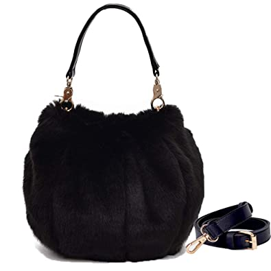 Donalworld Women Faux Fur Handbag Design Cute Gifts Winter Warm Shoulder Bag  M Black 02d3bfd355863