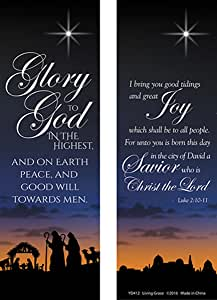 Amazon.com: Christmas Nativity Bookmarks Glory to God in The Highest with Bible Verse, 6 Inch ...