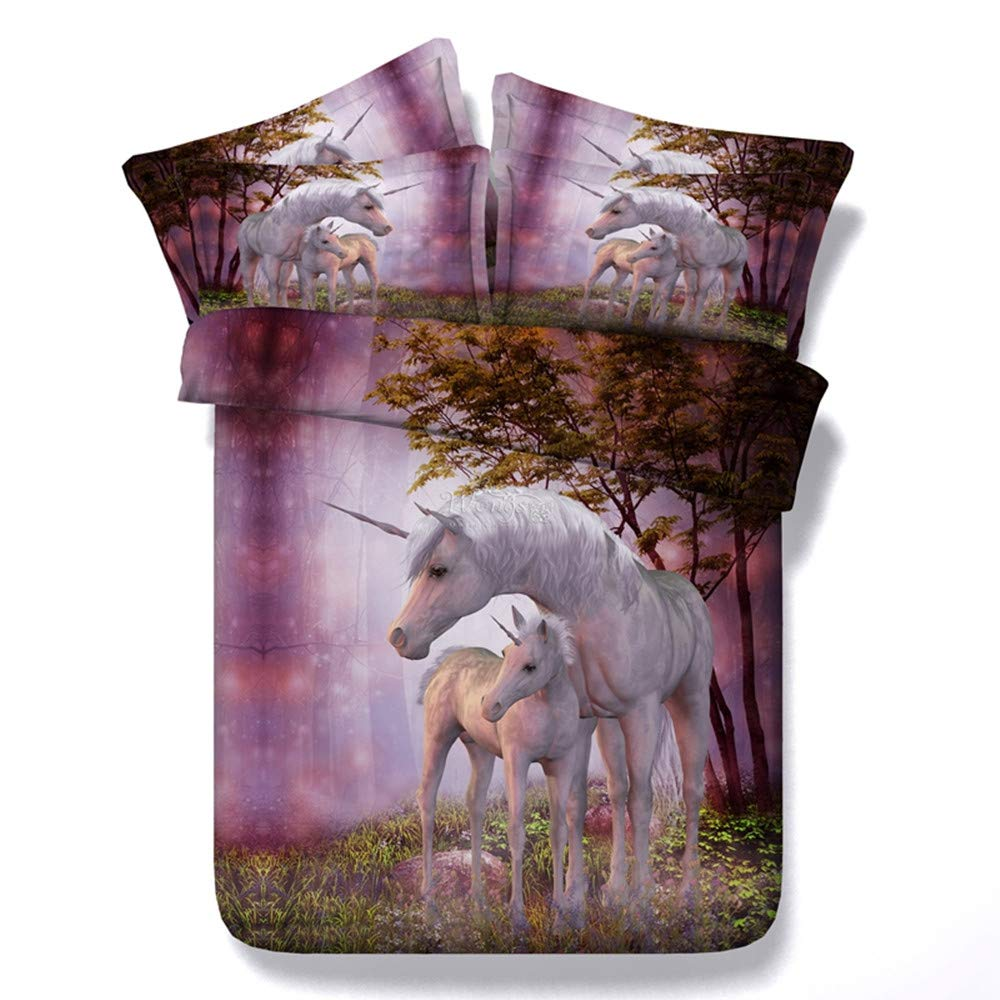 Literie Pourpre For/êt Licorne Quilt Cover Housse De Couette Taie doreiller Chambre Literie Ensemble pour Adultes Enfants Parents comme Un Cadeau De No/ël,150cmx200cm+2x48cmx74cm