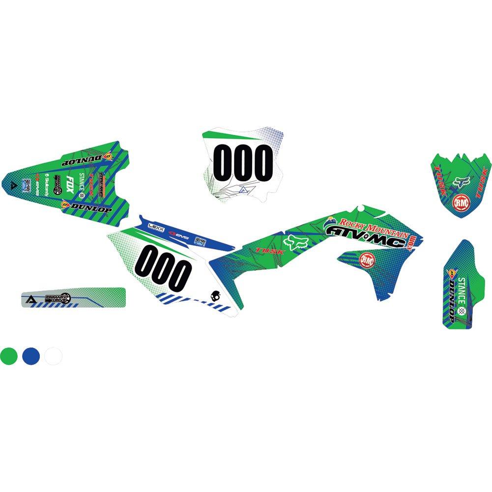 Attack Graphics カスタム ハボック コンプリート バイク グラフィックスキット KX グリーン/WORCS ブルー - 適合: カワサキ KX250F 2004-2019   B07BG9QZKG