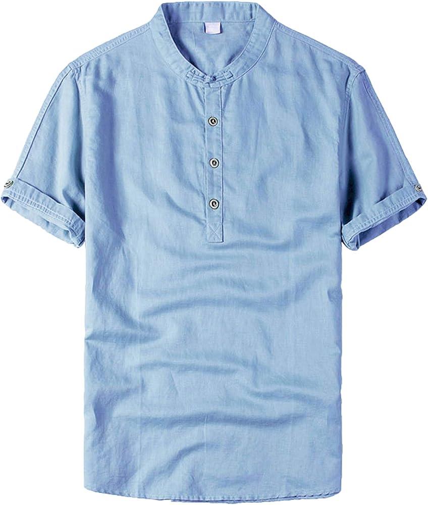 LEOCLOTHO Camisa Hombre Manga Corta Algodón Lino Camisas Color Sólido Verano Casual Cómodo Azul Claro XS: Amazon.es: Ropa y accesorios