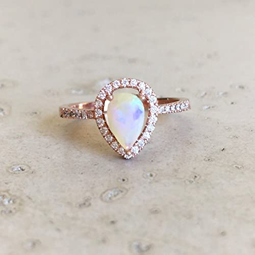 Amazoncom Rose Gold Opal Engagement Ring Halo Pear Shape Opal