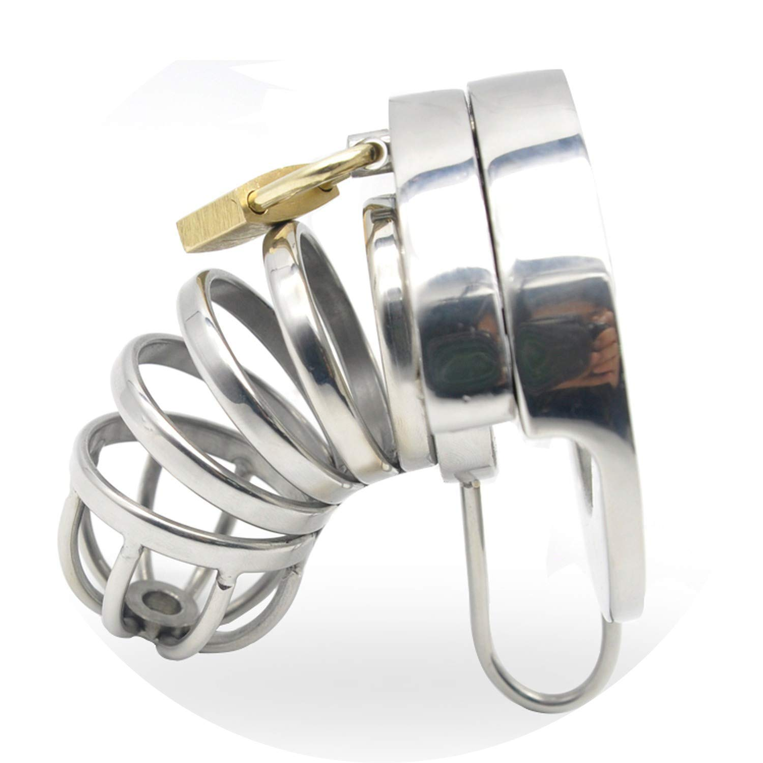 Couple Ring Intim^acy Surprise-Show Double Lock Stainless Steel Male Chástí-ty Device Cage Virginity Male Lock Ring Chástí-ty Belt Public Game A291,40mm