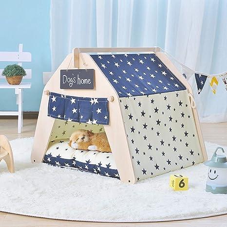 Casa Tipi Tienda para Perro O Mascota ExtraíBle Lavable ColchóN Kennel Yurt Lindo Gato Litera Cuatro Temporadas Suministros,Starmodels(nopad),L: Amazon.es: ...