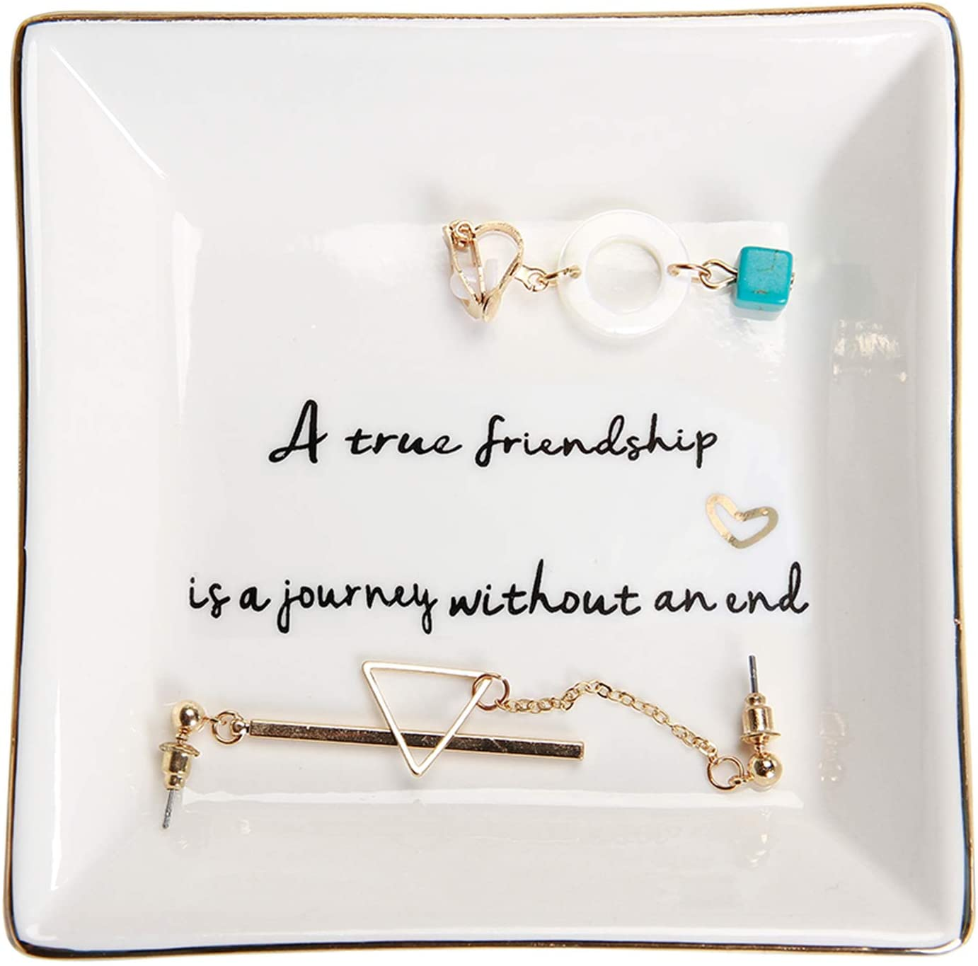 Amazon Com Home Smile Friends Gifts For Her Ring Trinket Dish A True Friendship Is A Journey Without An End Birthday Gifts For Friends Female Home Improvement