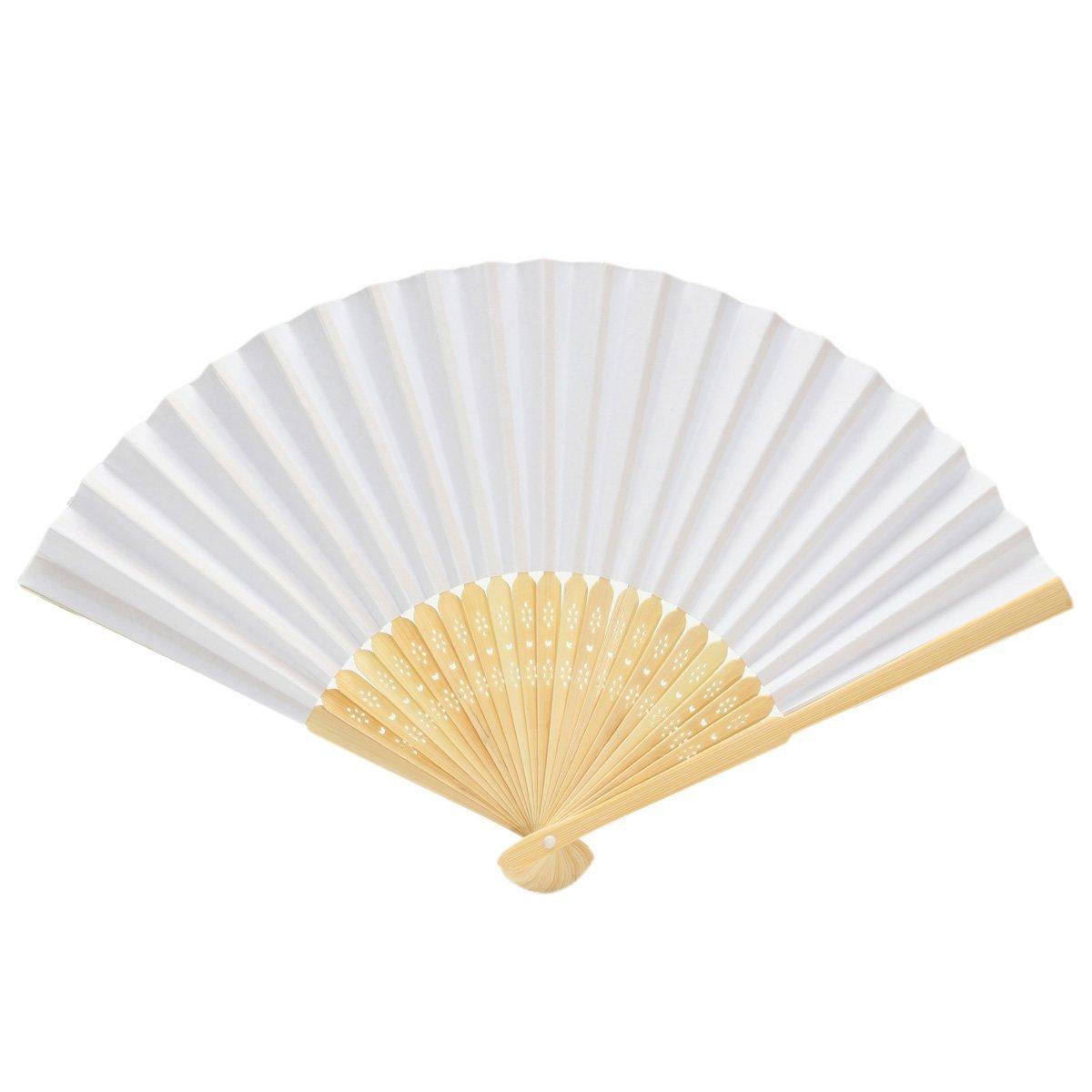Amazon.com: KINGSO 10PCS White Blank Paper Handheld Folding Fan with ...