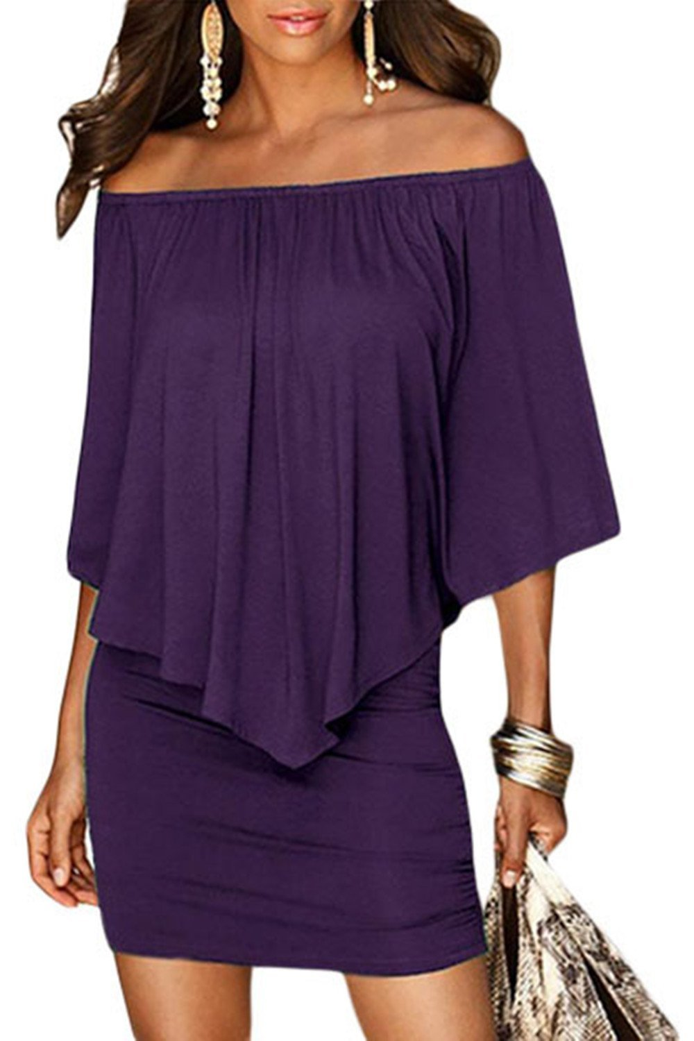 Women\'s Sexy Off Shoulder Ruffle Club Dress Purple L