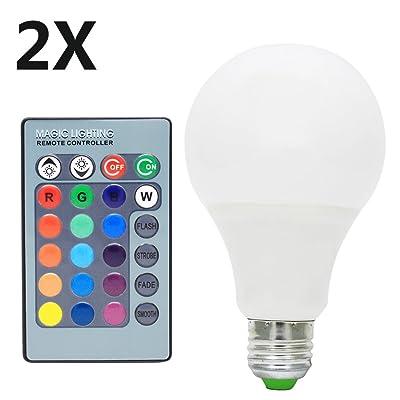 2x E27 Ampoule Multicolore 7w Rgb Ampoule Led 16 Changement De