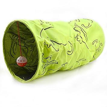 Raschel túnel para gatos, 50 cm), color verde con diseño de gato: Amazon.es: Productos para mascotas