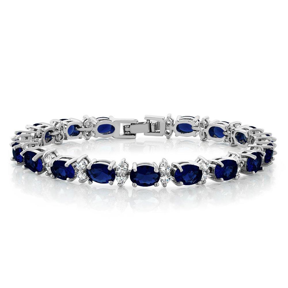 20.00 Ct Oval & Round Blue Color Cubic Zirconias CZ Tennis Bracelet 7 CC-CA-SC026-BLUE-NEW-MFN