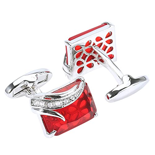 de lujo con clase mancuernas cristalinas de diamantes de imitación de color rojo: Amazon.es: Joyería