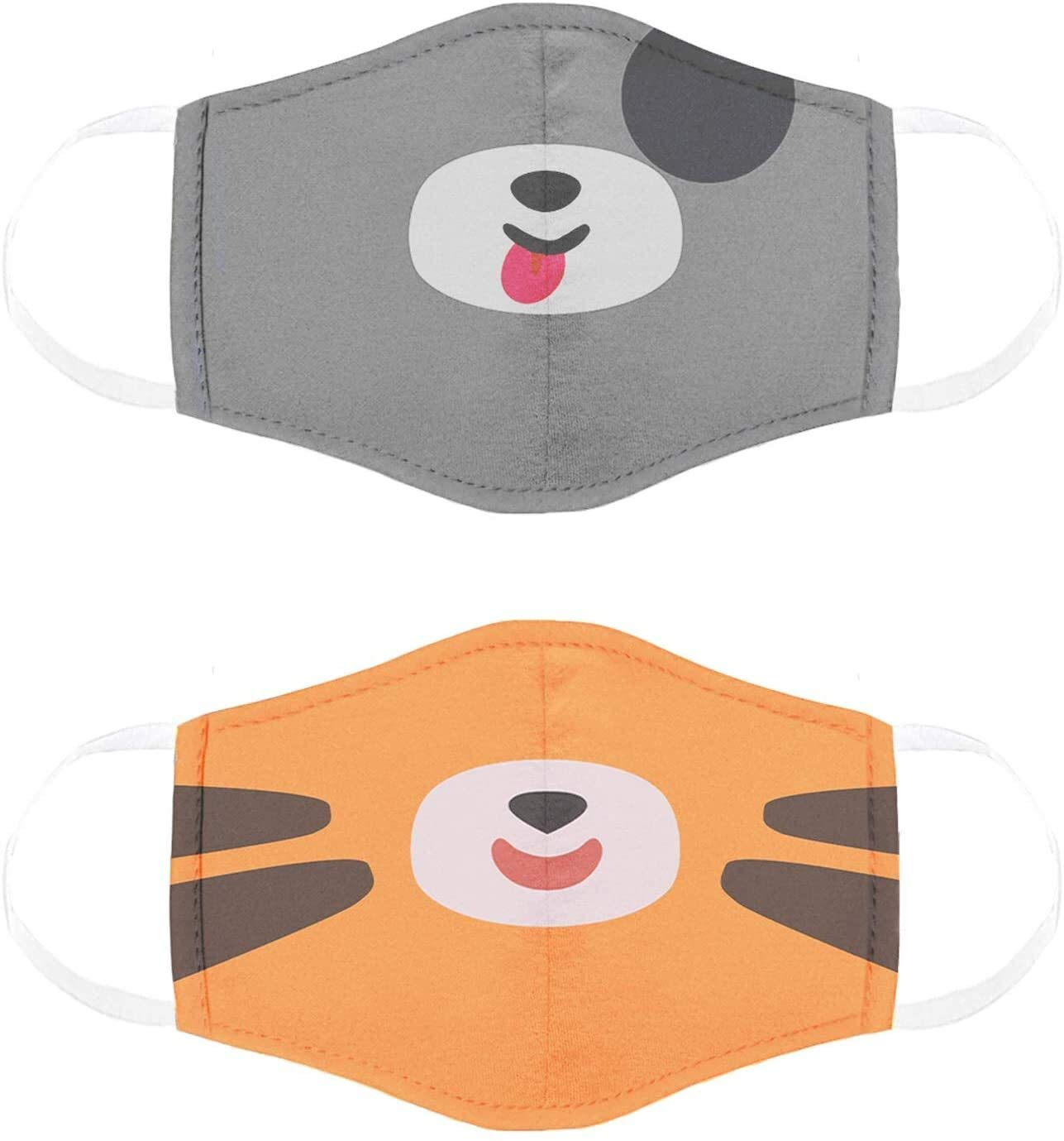 Kids Face Mask 2 Pack, Breathable & Comfortable Masks for Kids, Reusable and Washable, Face Masks for School and Everyday Use, Pimm the Puppy and Tomo the Tiger