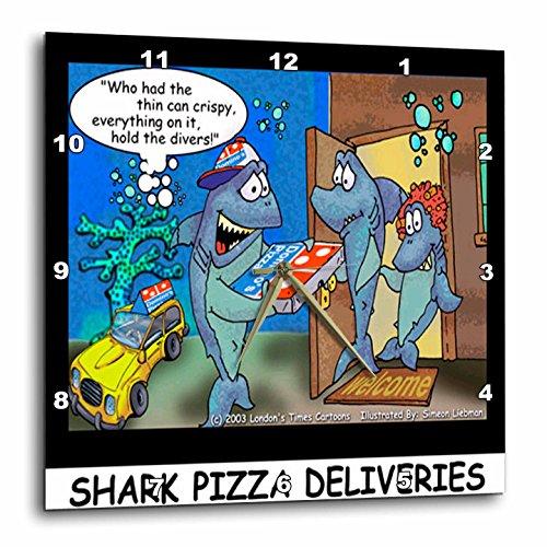 3dRose Londons Times Fish Fishing Deep Beneath Cartoons - Shark Pizza Delivery - 10x10 Wall Clock (dpp_2444_1)