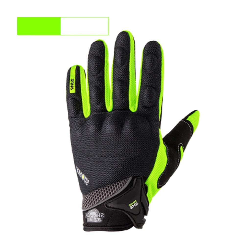 AINIYF Full Finger Motorcycle Gloves | Motocross Anti-skid Slip Breathable Cycling Racing Locomotive Touchscreen Outdoor Gloves Male Summer Knight Equipment (Color : Green, Size : XXL)
