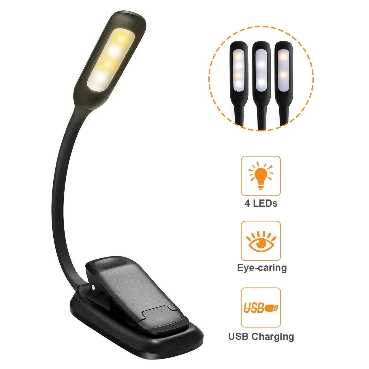 LED Book Light, HOLIFE Mini Rechargeable Reading Lights Portable Easy Clip on Reading Lamp Soft Table Light with 3-Level Brightness, Eye-Care Protection for Bookworms, Night Reading, Kindle
