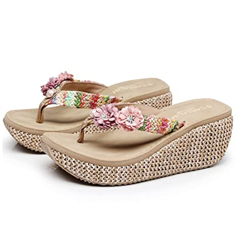 8b5716262958 Image Unavailable. Image not available for. Color  Summer Bohemia Slippers  Clip Toes Flip Flops Flower Womens Wedge Sandals Casual Beach ...