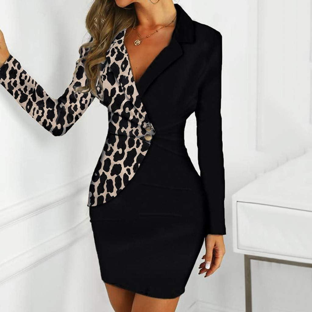 Overdose Business Kleider Damen Elegant OL Stil Arbeit Langarm V-Ausschnitt Schlank Minikleid Wickel Bleistiftkleid Zweireihiger Farbblock Frauen Blazer Dress