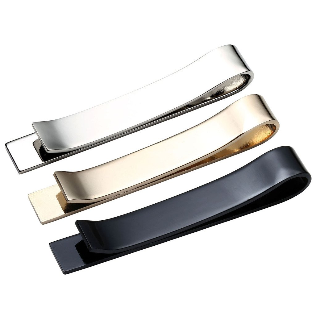 Silver-Tone Zysta 3-6 Pc Mens Stainless Steel Tie Bar Pinch Clip Set for Skinny 1.6 Inch//Regular Ties 2.1 Inch Gold-Tone Black