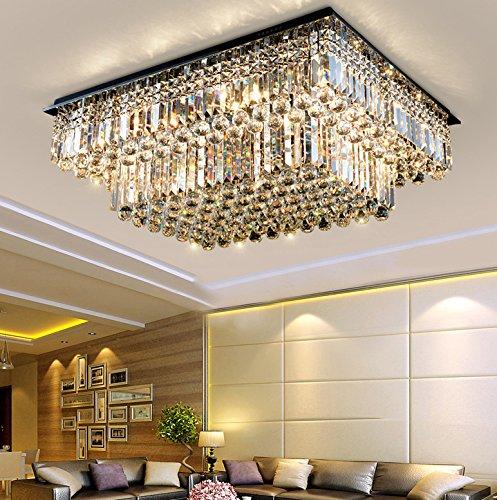 (Siljoy Rectangular Raindrop Crystal Chandelier Lighting Modern Flush Mount Ceiling Light Fixture L31.5