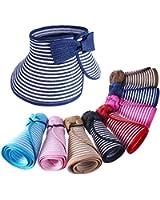 MERSUII Fashion Elegant Foldable Roll Up Wide Brim Stripes Straw Hat For Women Ladies Girls