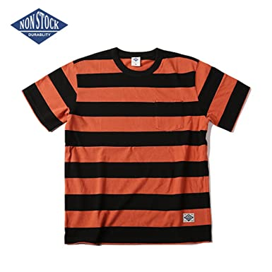 7288224aa3f0 Non Stock Men's Wide Striped Short Sleeved Pocket Motorcycle T-Shirt ...