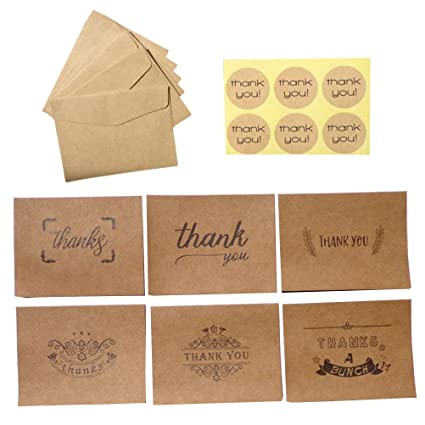 Amazon Com Stobok 18pcs Retro Kraft Paper Thank You Card