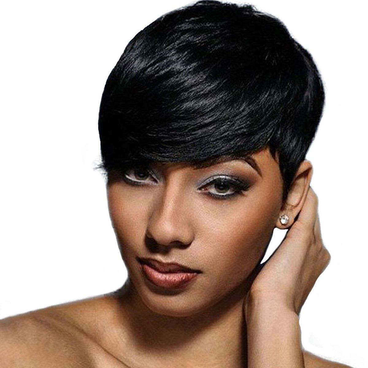 amazoncom short black pixie cut hair natural synthetic