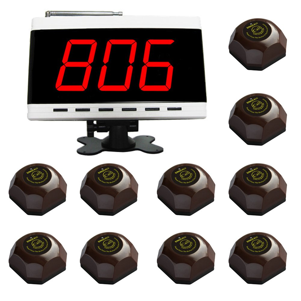 SINGCALL Wireless Calling System, Patient Calling System, Wireless Table Call System, for Hospital Restaurant Pack of 1 Display and 10 Table Bells