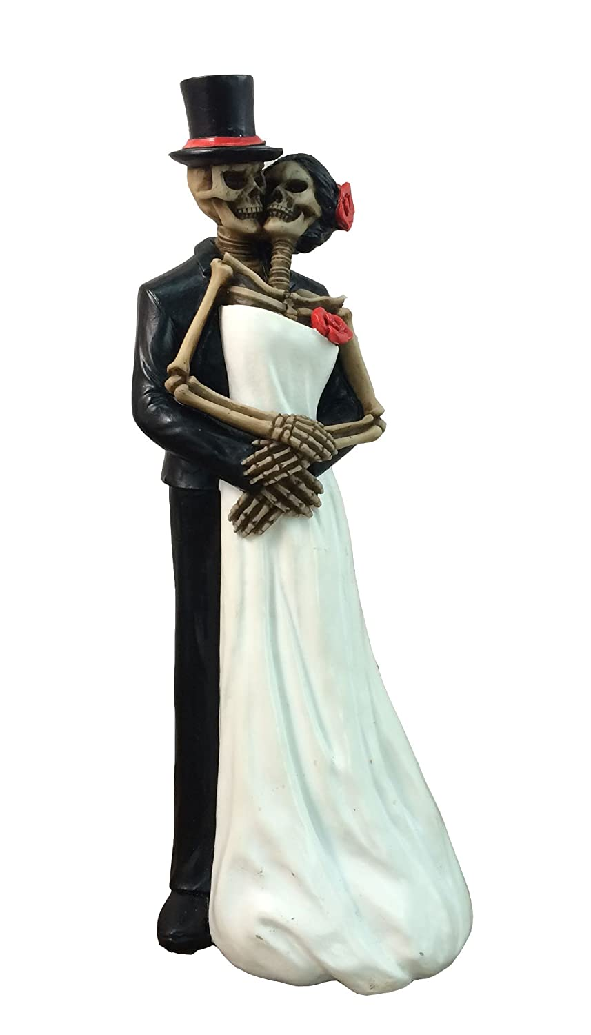 "DWK 8"" Till Death Day of the Dead Dia de los Muertos Skeleton Couple Decorative Figurine Bride and Groom Mini Statue Wedding Cake Topper"