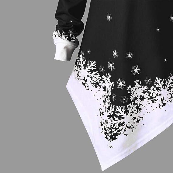 Navidad de BaZhai, Mujeres Navidad Papá Noel Copo de Nieve Impreso Tops Fuera del Hombro Sudadera asimétrica Camisetas Botón un Solo Hombro Manga Larga ...