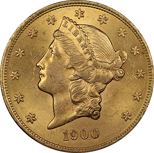 1900 U.S. Double Eagle Gold Coin, Mint State Condition, Liberty Head Design