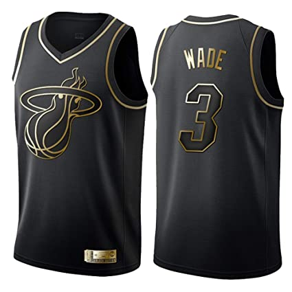 finest selection 21a71 f7b4c Hommes Femme NBA Miami Heat 3# Wade T-Shirt de Basket-Ball Retro Maillots  Uniforme de Basket-Ball Top Brodés