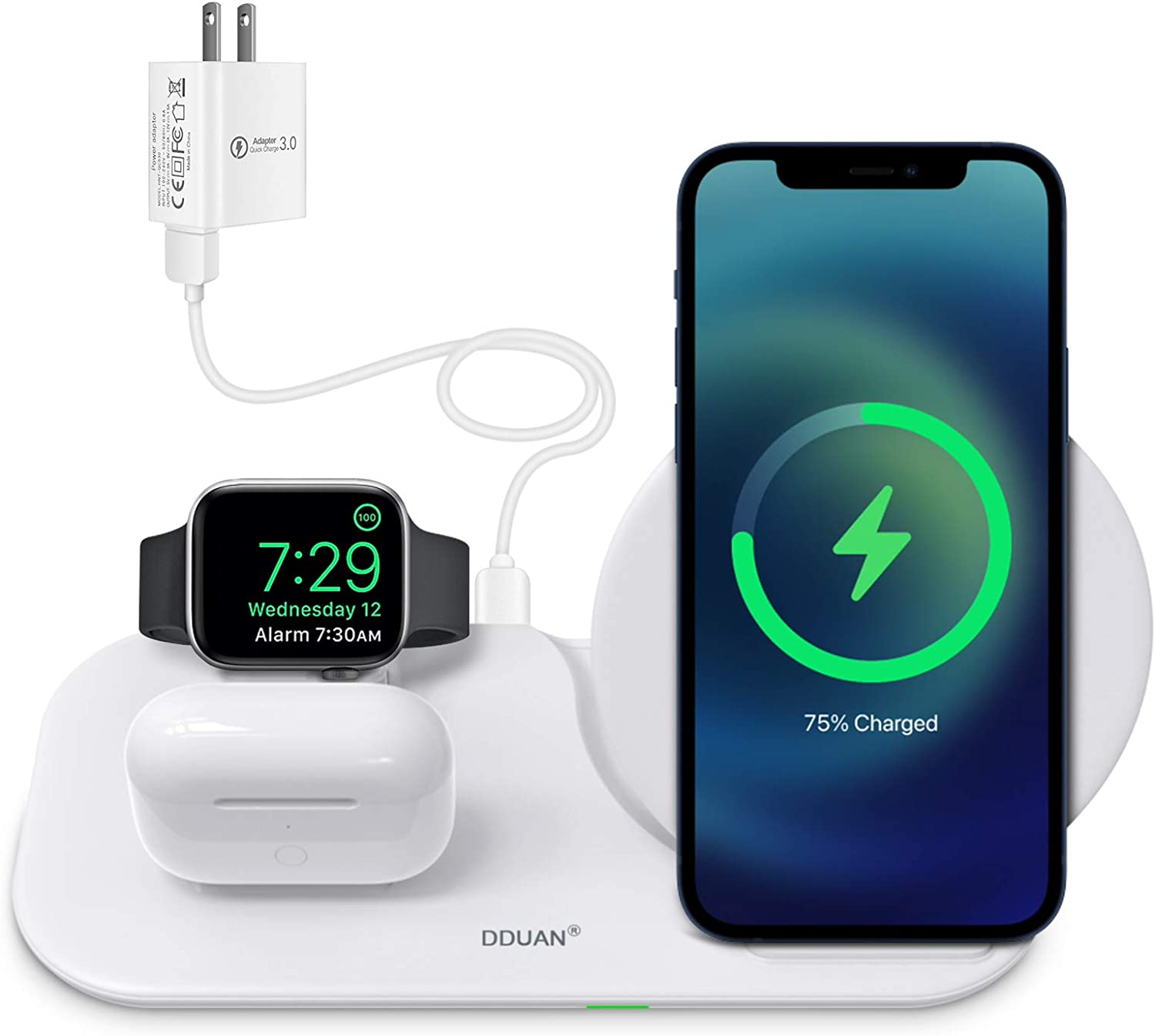 DDUAN Wireless Charger, 3 in 1 Qi Fast Charging Station Dock Compatible for Apple Watch, AirPods Pro/1/2, Charging Stand for iPhone 12/11/Pro/Max/XR/XS/XS Max/X /8/8 Plus/Samsung(18W Adapter Included)