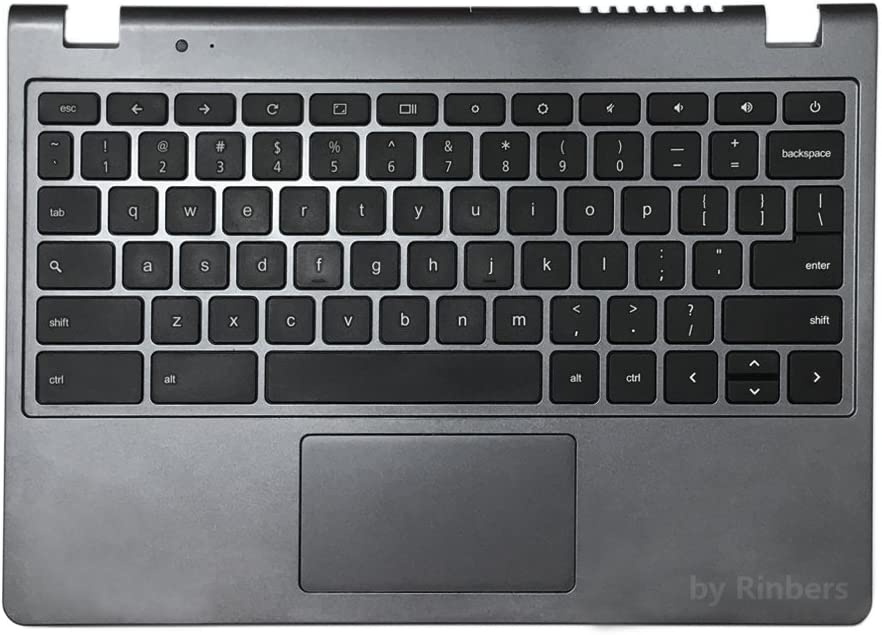 Rinbers Laptop Gray Palmrest Upper Case with Keyboard and Touchpad Assembly Replacement for Acer Chromebook 11.6 inch C740 60.EF2N7.021
