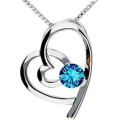 b1c71be434ea MYA art Kette Halskette Herzketten Doppel Herz Anhänger mit Swarovski  Elements Kristall Stein Silber Turkis Blau Damen Kinder Herzkette  MYAWGKET-20  ...
